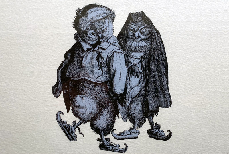 First Freeze illustration of two owls dressed in overcoats